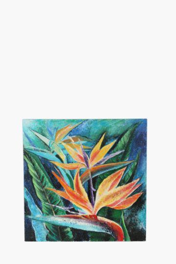 100% Hand Painted Strelitzia 60x60cm Wall Canvas