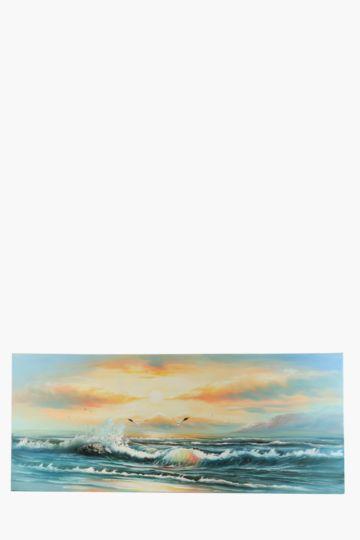100% Hand Painted Rough Seas 170x70cm Wall Canvas