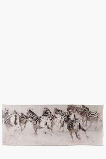 Zebra Herd 170x70cm Wall Canvas
