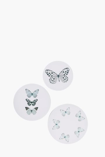 Set Of 3 Butterfly Wall Art
