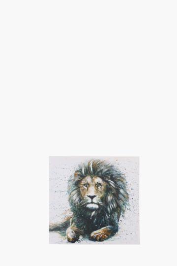 Embellished lion 40x40cm wall art