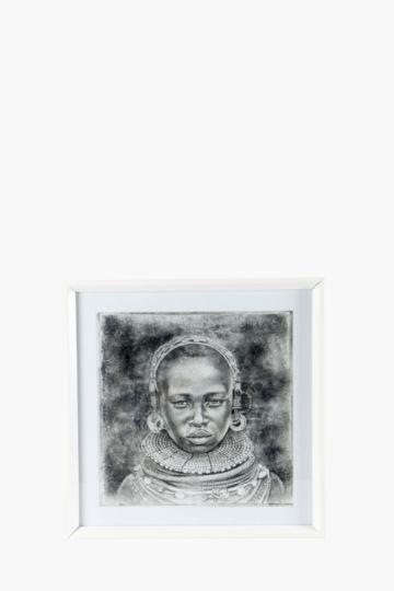 Framed african lady 60x60cm wall art