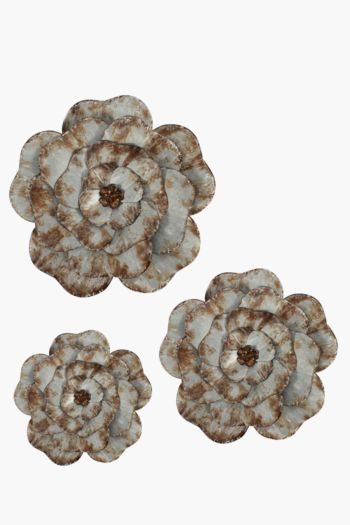 3 Rustic Metal Flower Wall Art