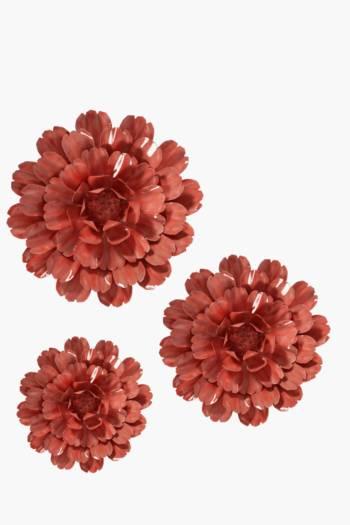 3 Rustic Metal Flower Wall Art