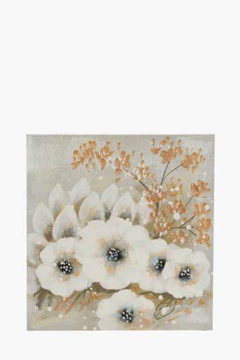 Textured Flowers 50x50cm Wall Art