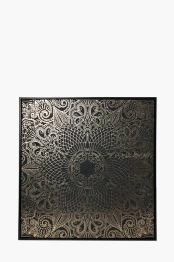 Framed Floral Henna 100x100cm Wall Canvas