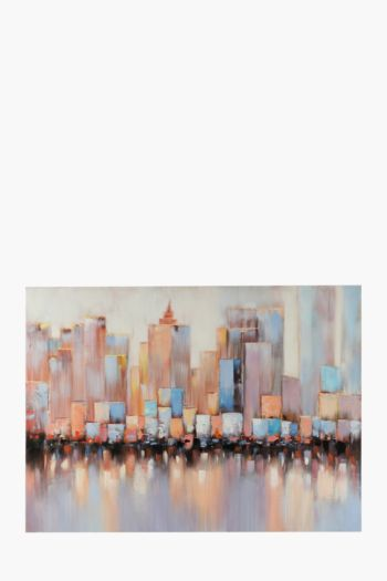 Hand Painted City Reflection 120x90cm Wall Canvas