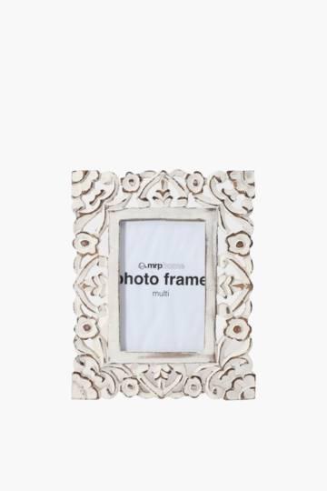 Washed Carved Flower Frame, 10x15cm