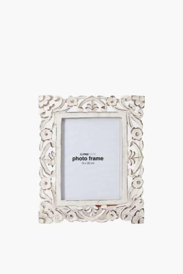 Washed Carved Flower Frame, 20x25cm