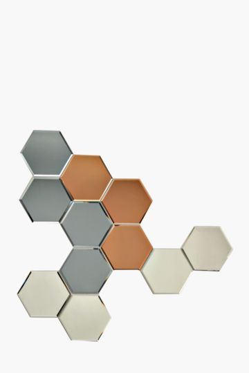 Hexagon Dimensional Tile Mirror