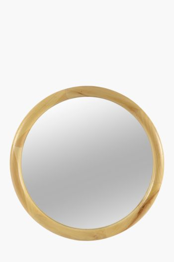 Light Wood Round Mirror, 60cm