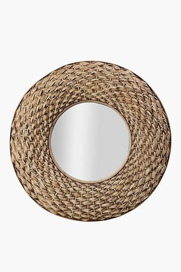 Bamboo Basket Weave Mirror, 80cm