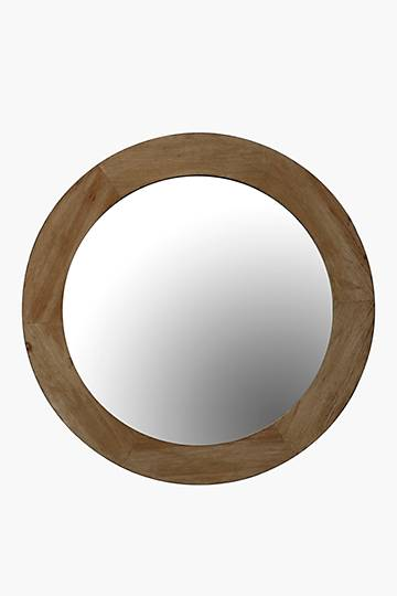 Washed Mango Wood Round Mirror, 110cm