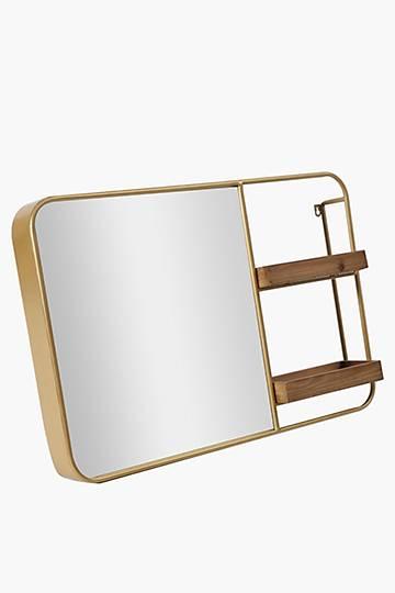 Metal Rectangular Mirror With Shelves