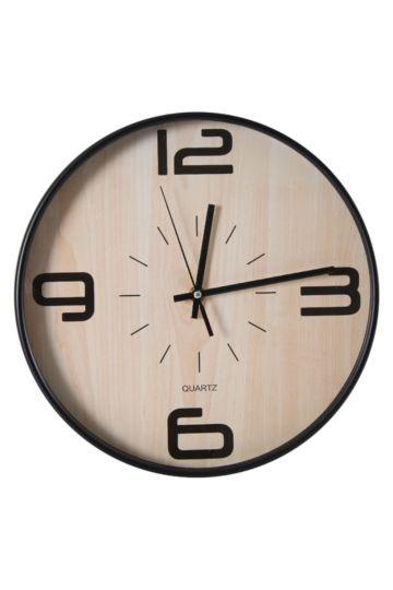 Plastic And Wood Clock, 30cm