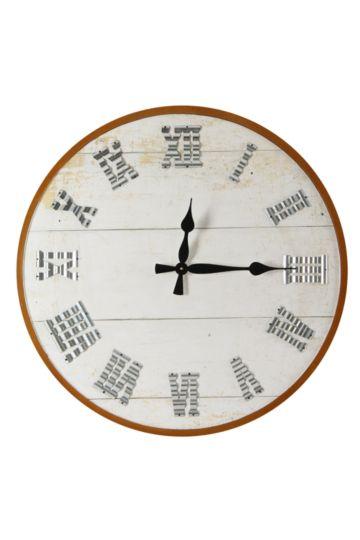 Crinkle Number Wooden Clock, 80cm