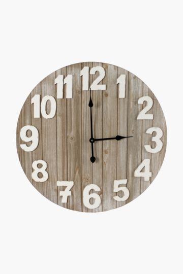 Washed Wood Wall Clock