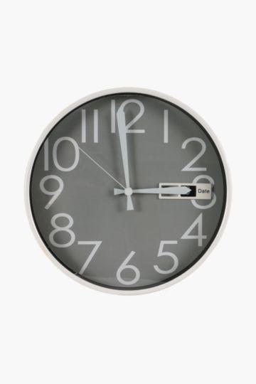 Slimline Plastic Clock With Date