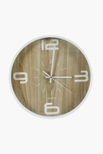 Plastic And Wood Wall Clock, 30cm