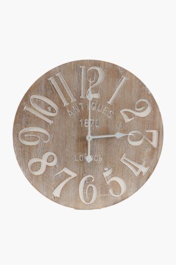 Light Wood Embossed Clock, 60cm