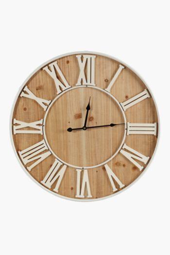 Roman Numerals Wood Clock