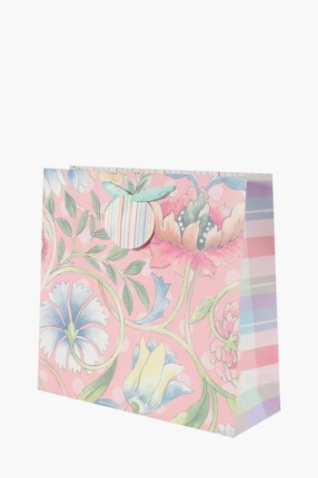Floral And Stripe Gift Bag Large