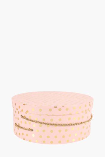Round Polka Dot Hat Box Extra Large