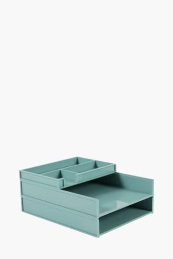 3 Piece Plastic Office Storage Desk Set