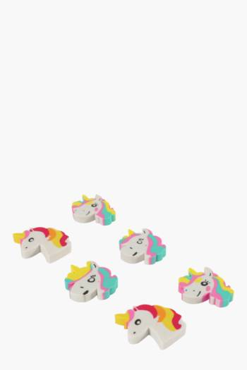 6 Pack Mini Unicorn Erasers