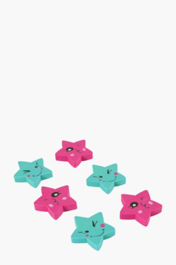 6 Pack Mini Star Erasers
