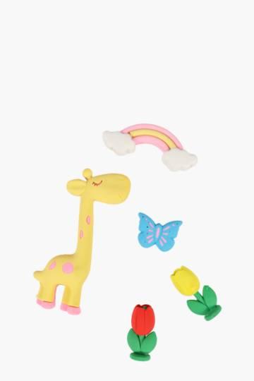 5 Pack Giraffe Eraser Set