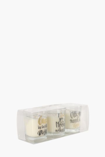 3 Pack Wax Filled Script Candle Set