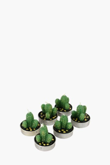 Set Of 6 Cactus Tea Light Candles