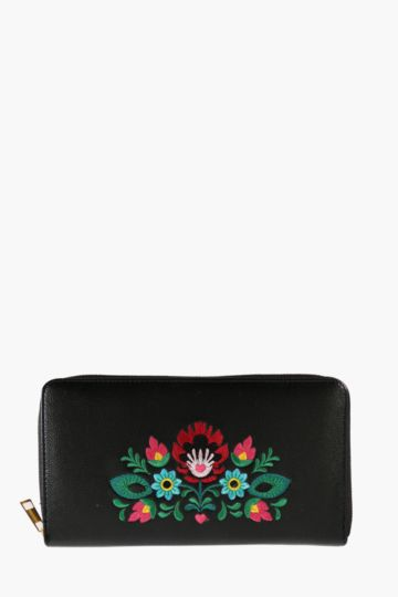 Embroidered Floral Travel Wallet