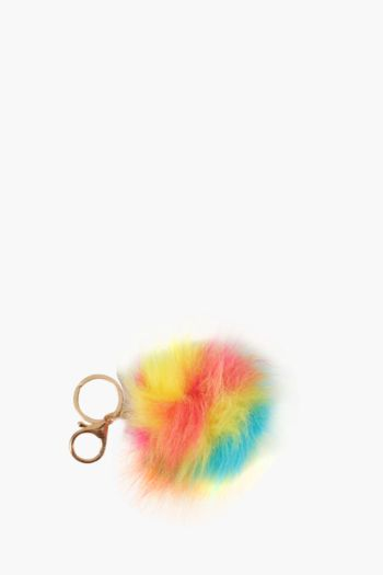 Rainbow Pom Key Ring