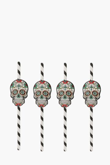 12 Piece Skull Paper Straws