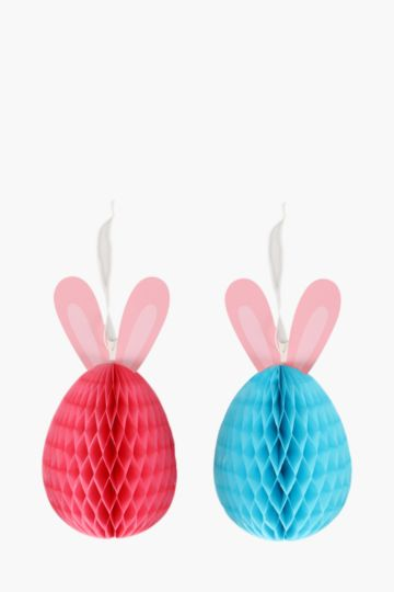 Pack Of 2 Bunny Honeycomb Decorations