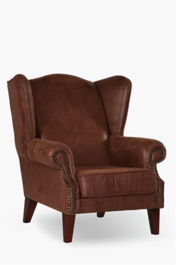 Distressed Mock Suede Wingback Chair
