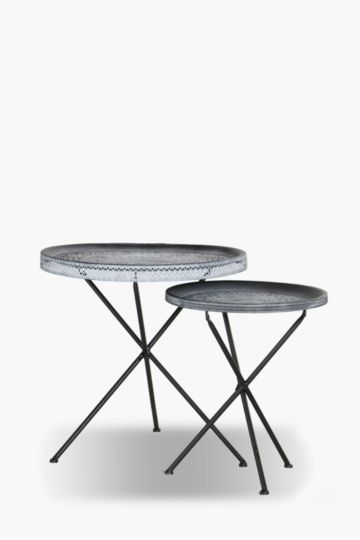 Metal Embossed Side Tables