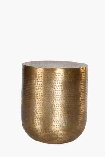 Round Beaten Metallic Side Table
