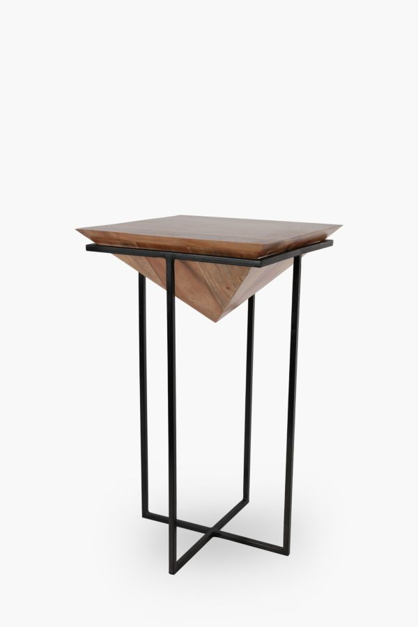 Acacia Planter Side Table, Tall
