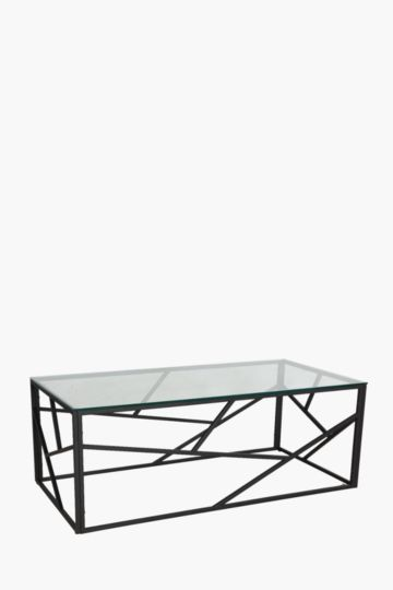 Geometric Metal And Glass Coffee Table
