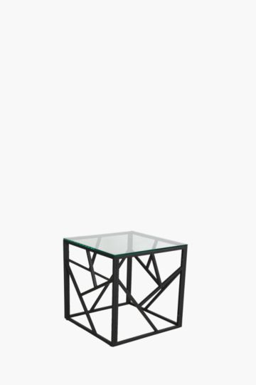 Geometric Metal And Glass Side Table