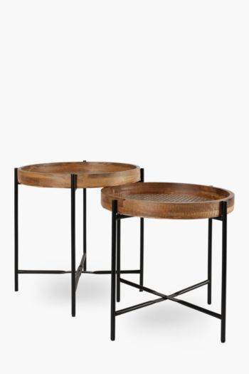 Rattan Weave Nested Side Tables