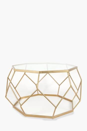 Metallic Geometric Wire Coffee Table