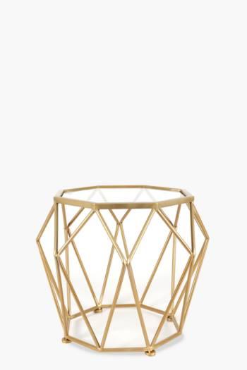 Metallic Geometric Wire Side Table