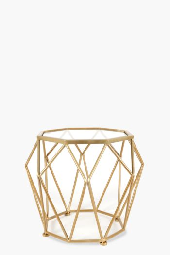 Metallic Geometric Wire Side Table