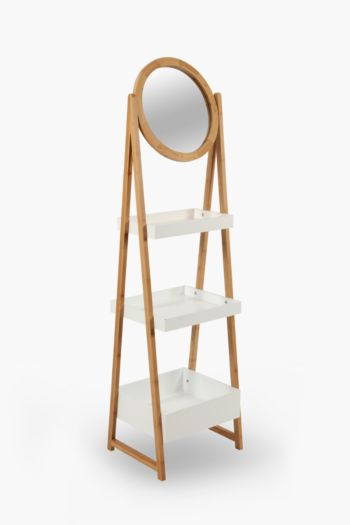 3 Tier Bamboo Shelf With Mirror