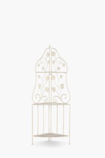 Floral Scroll Corner Bakers Rack