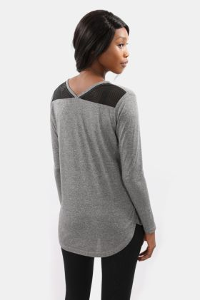Mesh Detail Long Sleeve T-shirt